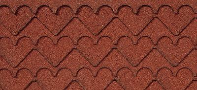 Asfalt dakbedekking, hartjes vorm