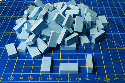 Blauwe baksteentjes, afm.:20*10*5 mm