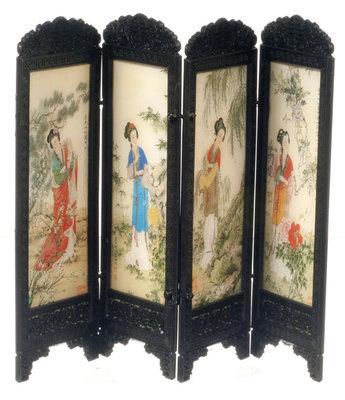 Chinees kamerscherm, 4 panelen met vrouwenprint