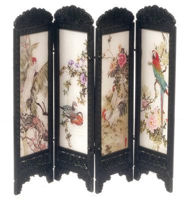 Chinees kamerscherm, 4 panelen met vogelprint