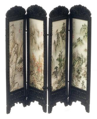 Chinees kamerscherm, 4 panelen met bergenprint
