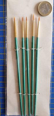 5 delige set Golden Taklon penselen, rond
