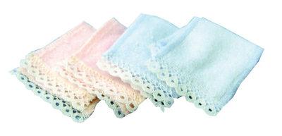 Setje roze en blauwe handdoeken