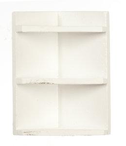 hobby en modelbouw; Wit houten hoekplanken kastje; poppenhuis; schaal 1 op 12; schaal 1:12; poppenhuismeubels; poppenhuisminiat