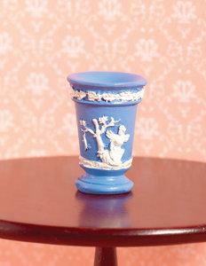 Hobby en modelbouw; 'Jasper' ruwe blauwe vaas; modelbouw poppenhuizen; poppenhuizen; poppenhuis; bloemen en planten m