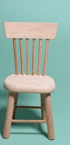 hobby en modelbouw; Eetkamer stoel van onbehandeld hout; poppenhuis; schaal 1 op 12; schaal 1:12; poppenhuismeubels; poppenhuis
