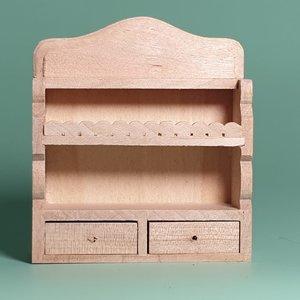 hobby en modelbouw; Keukenrekje van onbehandeld hout; poppenhuis; schaal 1 op 12; schaal 1:12; poppenhuismeubels; poppenhuismin