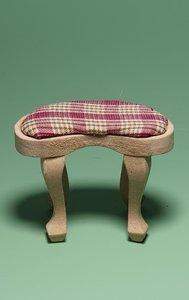 hobby en modelbouw; Voetenbankje van onbehandeld hout; poppenhuis; schaal 1 op 12; schaal 1:12; poppenhuismeubels; poppenhuismi