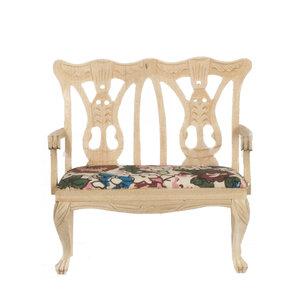 hobby en modelbouw; Dubbele stoel van onbehandeld hout; poppenhuis; schaal 1 op 12; schaal 1:12; poppenhuismeubels; poppenhuism