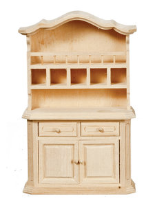 hobby en modelbouw; Buffetkast van onbehandeld hout; poppenhuis; schaal 1 op 12; schaal 1:12; poppenhuismeubels; poppenhuismini