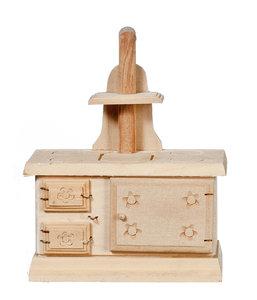 hobby en modelbouw;  poppenhuis; kamer; keuken; kinderkamer; naaikamer; tuin;  1:12; 1op12; schaal 1 12; Fornuis van onbehandel