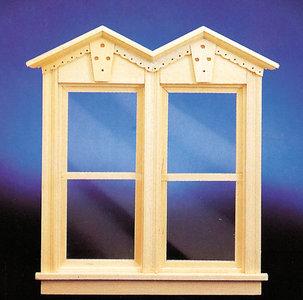 Houten dubbel victoriaans schuifraam, werkend; deuren; ornamenten; ramen; schaal 1op12; schaal 1:12; poppenhuizen; poppenhuis,