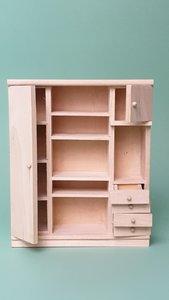 hobby en modelbouw; Kast van onbehandeld hout; poppenhuis; schaal 1 op 12; schaal 1:12; poppenhuismeubels; poppenhuisminiaturen