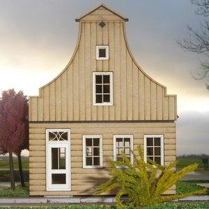 Zaans poppenhuis. type holleklokgevel, schaal 1:12;  schaal 1:12; Poppenhuizen; doe-het-zelf; modelbouw; poppenhuis; victoriaan