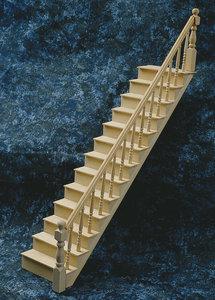 Hobby en modelbouw; Pakket om je eigen trap te maken, schaal 1:12; schaal 1op12; schaal 1:12; poppenhuizen; poppenhuis; modelbo