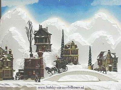 Fotoreportage van een kerstdorp van piepschuim