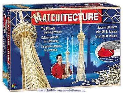 Matchitecture,bouwen met lucifers,modelbouw met lucifers,lucifer bouwpakket; Toronto CN Tower;  bouwwerk van lucifers; knutsele