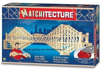 Matchitecture,bouwen met lucifers,modelbouw met lucifers,lucifer bouwpakket; spoorbrug uit Quebec, Canada;  bouwwerk van lucife