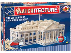 Matchitecture,bouwen met lucifers,modelbouw met lucifers,lucifer bouwpakket; Witte huis; bouwwerk van lucifers; knutselen met l