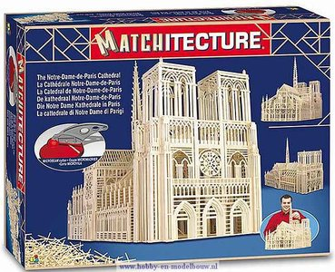Notre Dame; Matchitecture,bouwen met lucifers,modelbouw met lucifers,lucifer bouwpakket; Notre Dame Kathedraal; Matchitecture,b