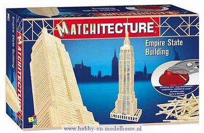 Matchitecture,bouwen met lucifers,modelbouw met lucifers,lucifer bouwpakket; Empire State Building; bouwwerk van lucifers; knut