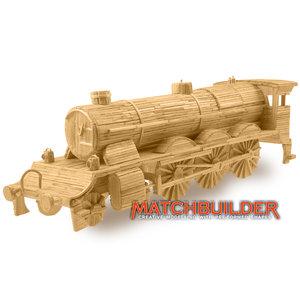 Matchbuilder,bouwen met lucifers,modelbouw met lucifers,lucifer bouwpakket; Stoomlocomotief met tender; bouwen met lucifers, mo