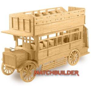 Matchbuilder,bouwen met lucifers,modelbouw met lucifers,lucifer bouwpakket; Omnibus uit 1920; bouwen met lucifers, modelbouw me