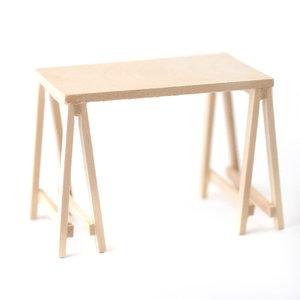 Tafel van schragen; Poppenhuis inrichting; inrichting poppenhuis; poppenhuis meubels 1:12; schaal 1 op 12: 1op12; meubels poppe