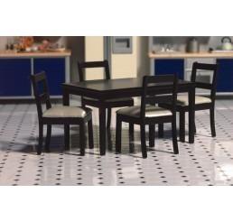 Houten rechthoekige keukentafel met 4 stoelen zwart www for Keukentafel en stoelen