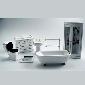 Witte badkamerset incl. douchecabine, 7 delig