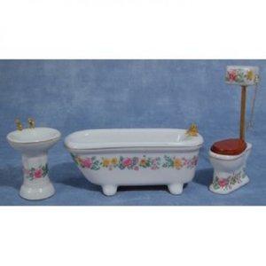 Witte badkamerset met frisse bloemenrand, 3 delig