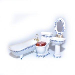 De Luxe badkamerset met blauwe bloemenrand, 4 delig