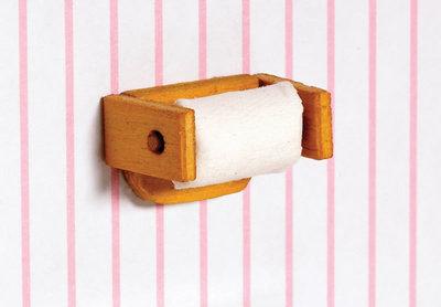 Toiletrol+houder; toiletrol; Poppenhuis; schaal 1 op 12: 1op12; poppenhuis; bouwelementen poppenhuis;