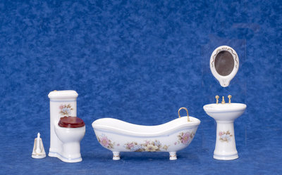 Witte proceleinen badkamerset met bloemen, 5 delig