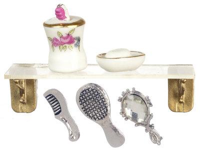 Badkamerplankje met accessoires