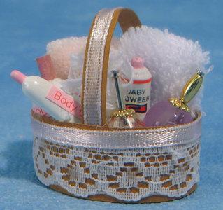 Badsetje in mand; Poppenhuis 1:12; 1op12; inrichting voor poppenhuizen; poppenhuizen; hobby en modelbouw
