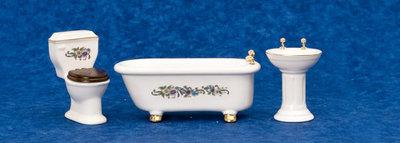 Badkamerset met sierrand, 3 delig ; poppenhuis; miniaturen
