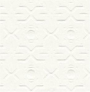 Behang wit Embossed; poppenhuis; schaal 1op12