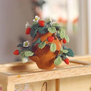 Aardbeienplant in pot; poppenhuis; miniaturen; schaal 1op12