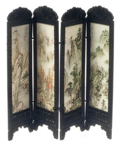 Chinees kamerscherm, 3 panelen met bergenprint