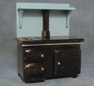 Zwart houten fornuis met lichtblauwe schouw; poppenhuis meubels; schaal 1op12