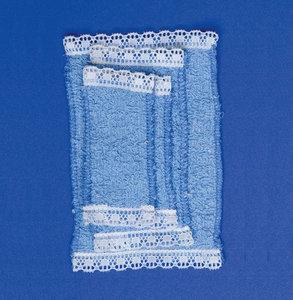 Setje blauwe handdoeken; Poppenhuis 1:12; 1op12; inrichting voor poppenhuizen; poppenhuizen;