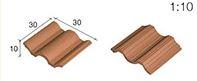 Aedes Ars; Dakpannen ROOD GEGOLFD, afm: 30 X 30 X 10 MM; miniatuur huisjes; echte steentjes; keramische steentjes; kleine bakst